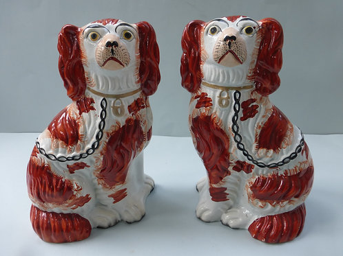 PAIR 19THC. STAFFORDSHIRE DOGS SIZE 3 C.1850