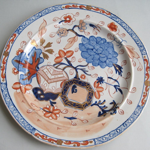 EARLY 19THC MASONS PLATE IN JARDINAIRE AND PEONY PATTERN