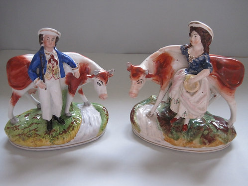 PAIR LATE 19THC. STAFFORDSHIRE COW GROUPS