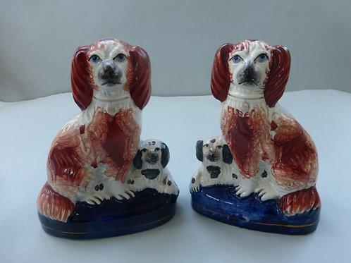 Pair 19thc. Staffordshire Spaniel & Puppy Groups Ref # 4328