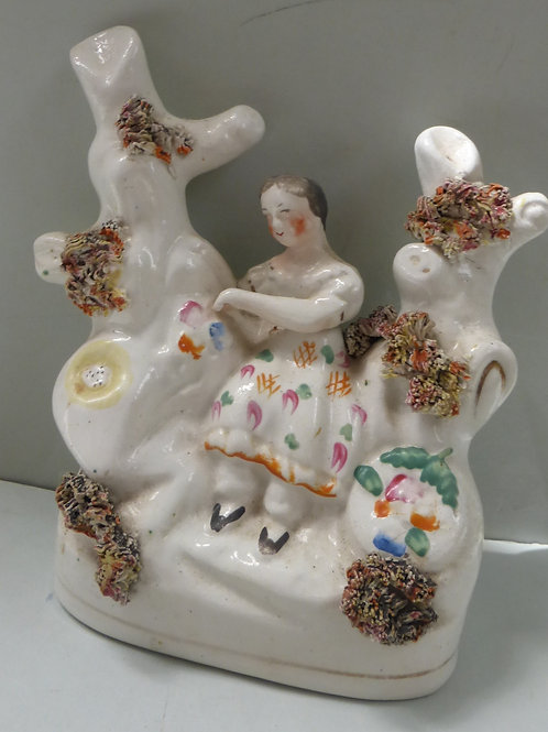 19THC STAFFORDSHIRE FIGURE OF A YOUNG GIRL