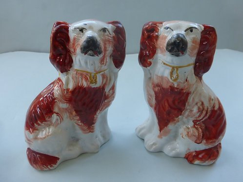 Pair of Miniature 19thc. Staffordshire Mantle Dogs Ref # 3022