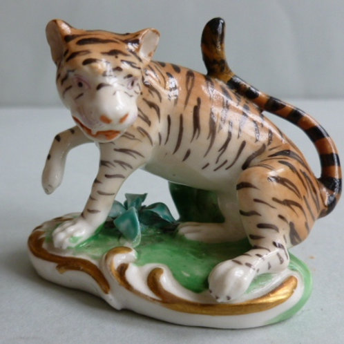 RARE 19THC STAFFORDSHIRE DERBY GROUP OF A TIGER