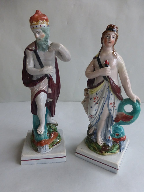 Pair Late 18th/early 19thc. Staffordshire Pearlware Figures Neptune & Venus