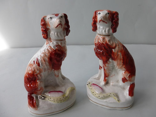 UNUSUAL PAIR 19THC. STAFFORDSHIRE DOGS WITH BIRDS
