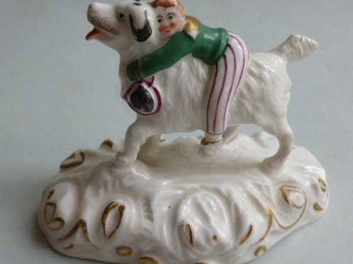 19THC STAFFORDSHIRE OF NEWFOUNDERLAND DOG & BOY