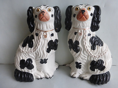 Superb Pair 19thc. Staffordshire Dogs Marked 3 c.1850. Ref # 4449