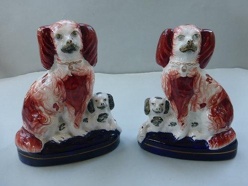 Pair 19thc. Staffordshire Spaniel & Puppy Groups Ref # 4327