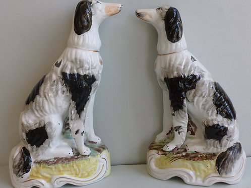 PAIR 19THC STAFFORDSHIRE FIGURES OF SETTER DOGS