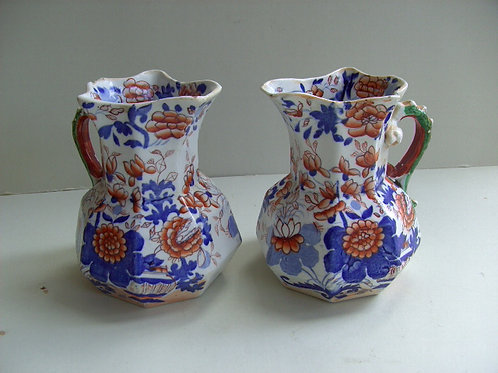 19THC. MASONS IRONSTONE JUGS IN IMARI PATTERN
