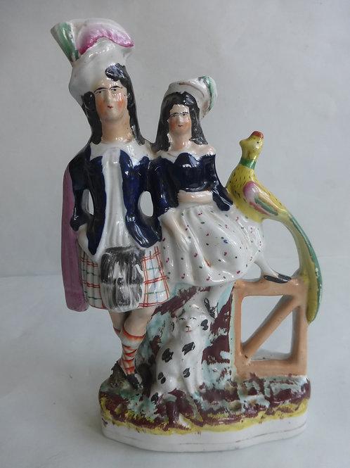 19THC. STAFFORDSHIRE FLATBACK OF BOY AND GIRL - Ref 4609