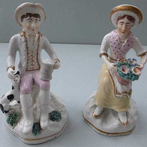 19THC. STAFFORDSHIRE OF MAN AND WOMAN WITH DOGS