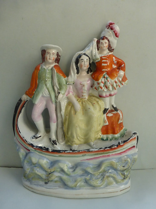 19thc. Staffordshire Boat Group Flora & Bonnie Prince Charlie Ref # 4315