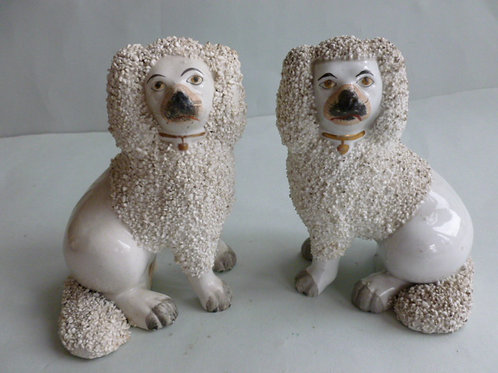PAIR 19THC.. STAFFORDSHIRE POODLES # 2675