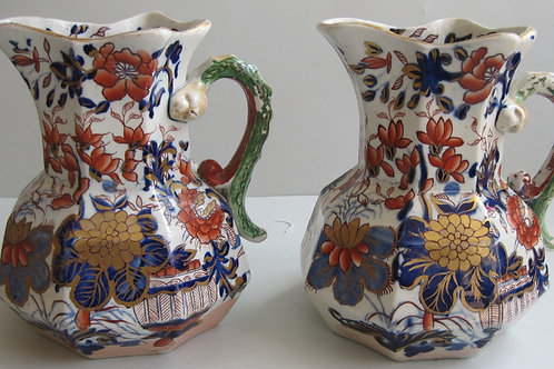 19THC. MASONS IRONSTONE HYDRA JUGS IN IMARI PATTERN