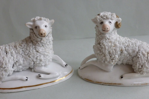 PAIR 19THC. STAFFORDSHIRE PORCELLANOUS SHEEP