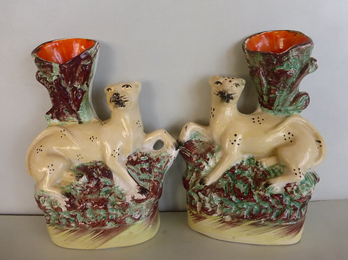 Rare Pair 19thc. Staffordshire Spills of Leopards Ref # 4259