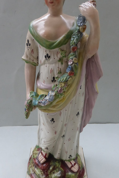 LARGE EARLY 19THC STAFFORDSHIRE PEARLWARE OF FLORA