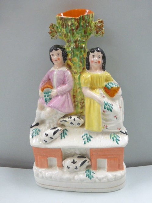 SINGLE 19THC. STAFFORDSHIRE OF CHILDREN WITH RABBITS