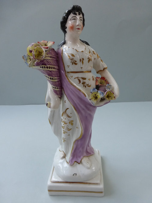 19THC. STAFFORDSHIRE SQUARE BASED FIGURE OF CERES