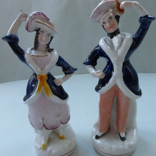 PAIR 19THC STAFFORDSHIRE OF DANCERS C.1845