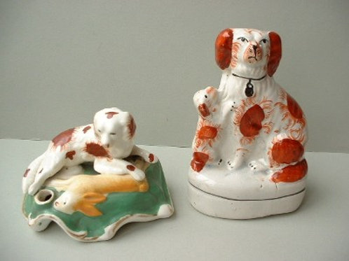 19THC STAFFORDSHIRE DOGS HARRIER HARE HOUND AND SPANIEL AND PUPPY