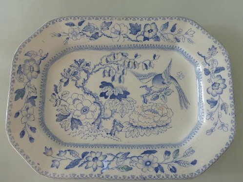 19THC. MASONS MEAT PLATTER IN BLUE AND WHITE FLYING BIRD PATTERN