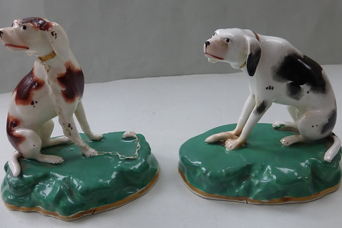 SUPERB PAIR 19THC STAFFORDSHIRE HOUNDS