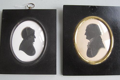 ENGLISH SCHOOL - 19THC PORTRAIT SILHOUETTE OF A COUPLE - JOHN MIERS STUDIO