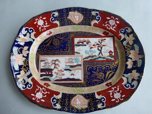 Late 19thc. Masons/Ashworth Double Landscape Meat Plate Ref # 4525