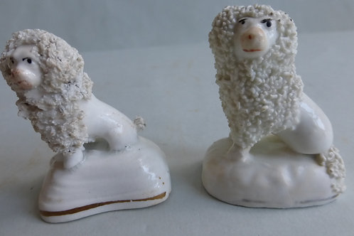 19TH CENTURY STAFFORDSHIRE PORCELLANOUS POODLES C.1840