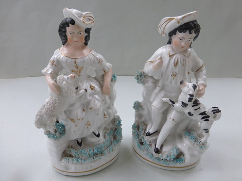 PAIR 19THC STAFFORDSHIRE GROUPS OF GIRL AND BOY Ref. 3713
