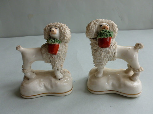 PAIR 19THC. STAFFORDSHIRE POODLES