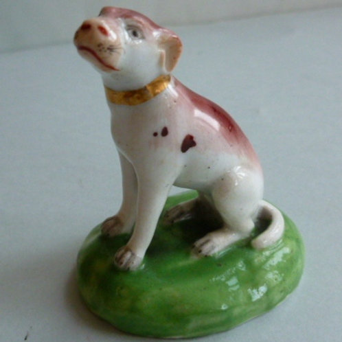 19THC STAFFORDSHIRE DERBY FIGURE OF A POINTER
