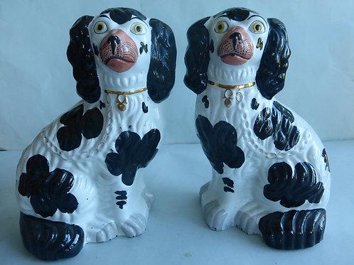 PAIR 19THC. STAFFORDSHIRE B/W DOGS NO. 2 Ref # 4567