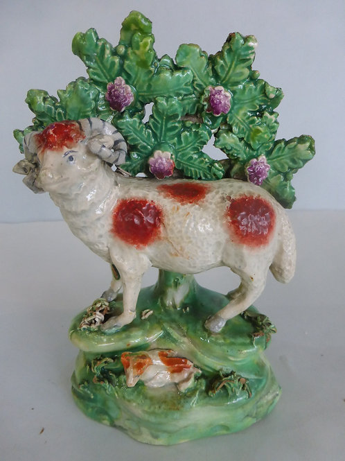 Early 19thc. Staffordshire Pearlware fig. Ram and Lamb  c.1820 by SALT Ref 4266
