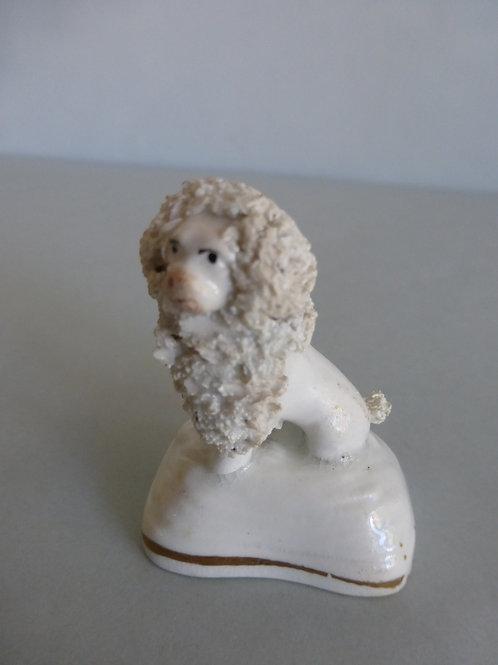 19thc. Porcellanous Miniature Staffordshire Poodle