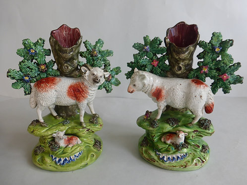 Pair early 19thc. WALTON Staffordshire Pearlware Spills of Ewe & Ram c.1820
