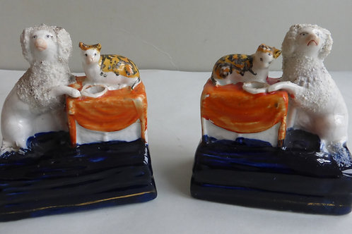 RARE PAIR 19THC. STAFFORDSHIRE POODLES AND CATS