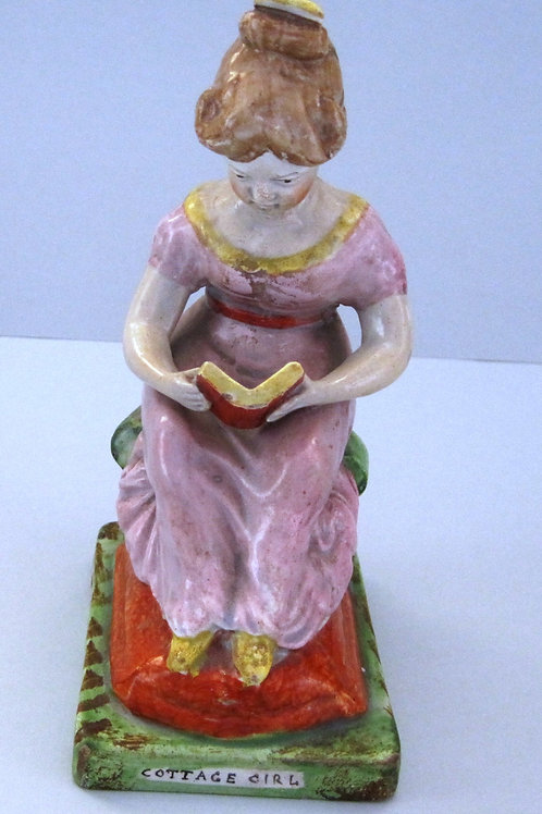 19THC. STAFFORDSHIRE PEARLWARE TITLED COTTAGE GIRL