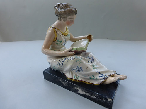 Superb early 19thc. Staffordshire Pearlware figure READING MAID. Ref. # 4294