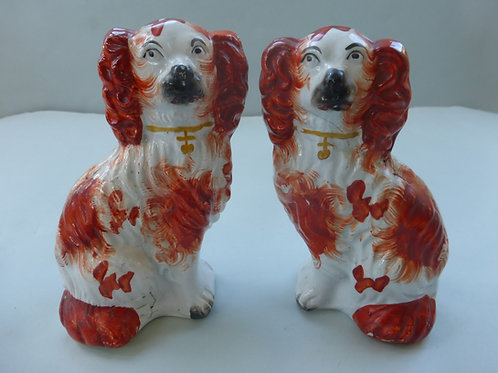 UNUSUAL PAIR OF SMALL 19THC. STAFFORDSHIRE RED AND WHITE DOGS REF # 4326