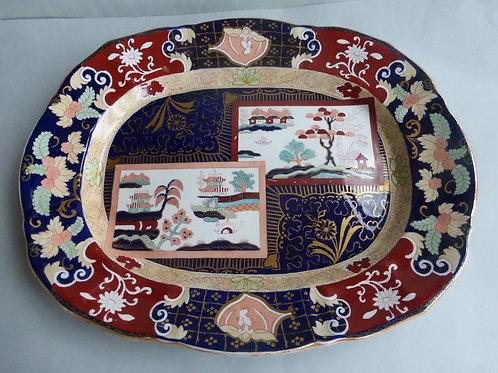 "Large late 19thc. Masons/Ashworth Double Landscape Meat Platter 19.5"" Ref # 4503"