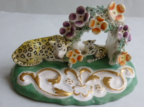 19THC STAFFORDSHIRE PORCELLANOUS GROUP OF LEOPARD AND CUB