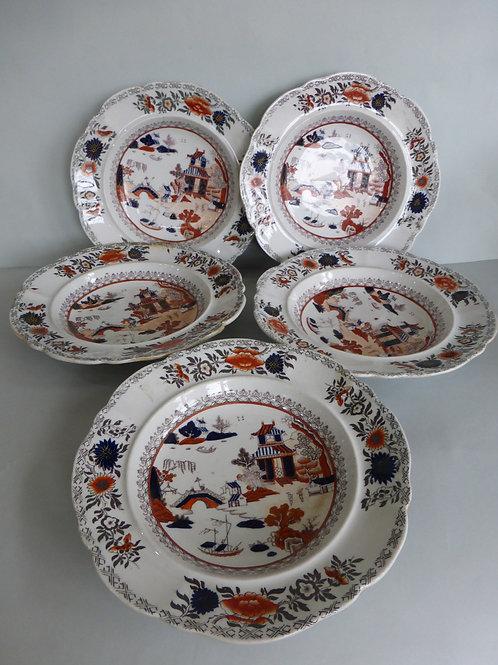 5 MASONS IRONSTONE SOUP DISHES C.1830