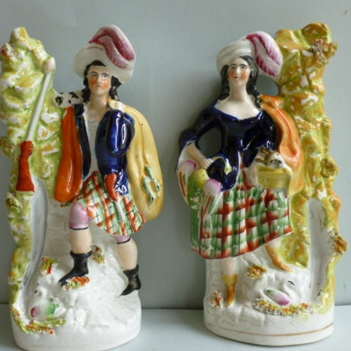 PAIR 19TH C STAFFORDSHIRE FIGURES MAN AND WOMAN
