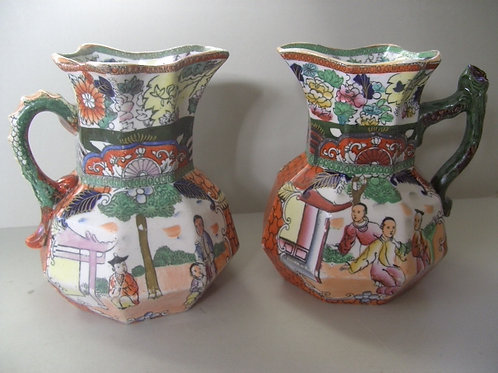 19thc. MASONS IRONSTONE JUGS IN RED SCALE PATTERN
