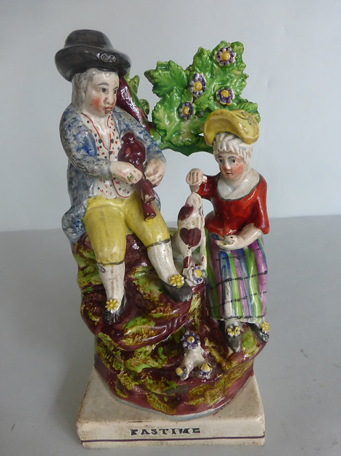 Early 19thc. Pearlware Staffordshire titled PASTIME Ref # 4170
