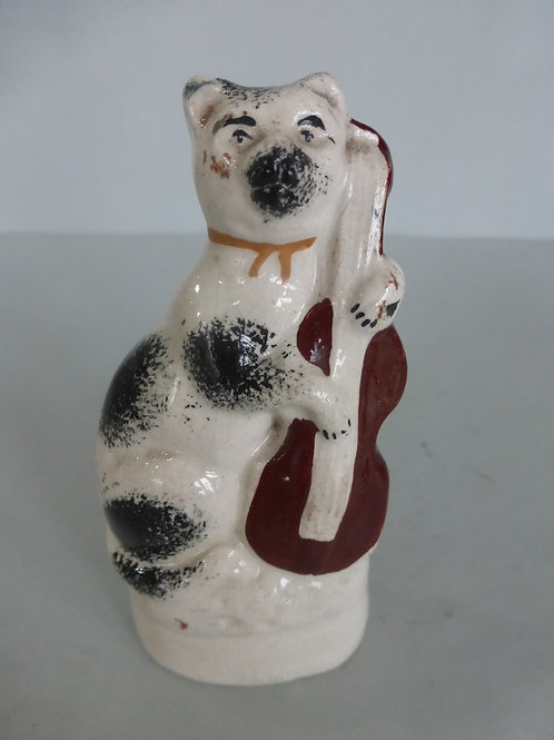 Miniature 19thc. Staffordshire Cat & Fiddle # 4128