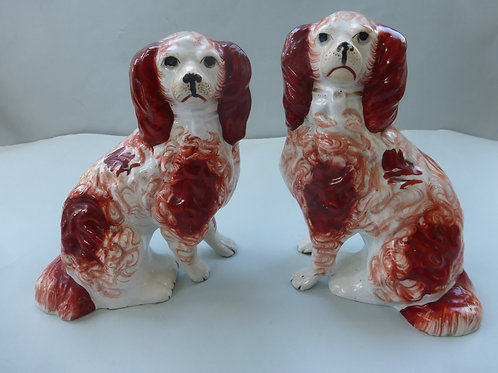 Pair 19thc. Staffordshire Red & White dogs with separate legs Ref # 4323